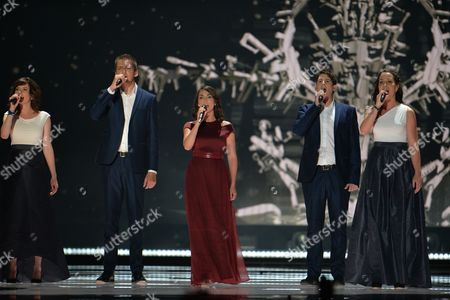 Hungary's Boggie performs the song 'Wars For Nothing', during the first semifinal of the Eurovision Song Contest in Austria's capital Vienna
