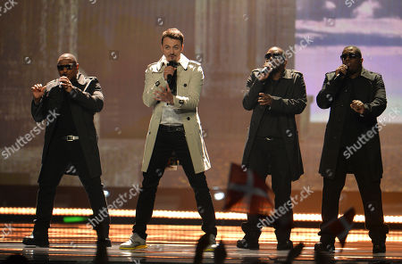 Macedonia's Daniel Kajmakoski, centre, performs the song 'Autumn Leaves', during the first semifinal of the Eurovision Song Contest in Austria's capital Vienna