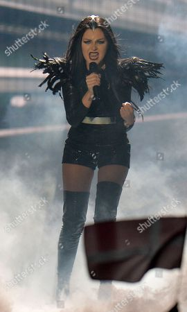 Georgia's Nina Sublatti performs the song 'Warrior' during the first semifinal of the Eurovision Song Contest in Austria's capital Vienna