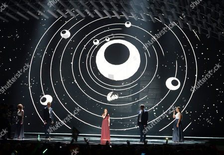 Hungary's Boggie performs the song 'Wars For Nothing' during the first semifinal of the Eurovision Song Contest in Austria's capital Vienna