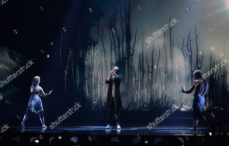Azerbaijan's Elnur Huseynov performs the song 'Hour Of The Wolf' during a dress rehearsal for the second semifinal of the Eurovision Song Contest in Austria's capital Vienna