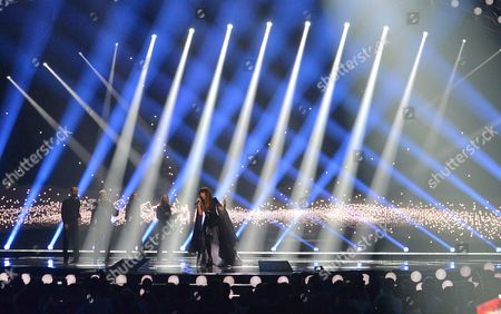 Portugal's Leonor Andrade performs the song 'Ha Um Mar Que Nos Separa' during a dress rehearsal for the second semifinal of the Eurovision Song Contest in Austria's capital Vienna