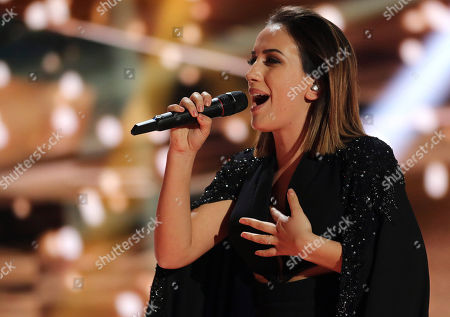 Albania's Elhaida Dani performs the song 'I'm Alive' during the Eurovision Song Contest rehearsal for the semifinal in Vienna, Austria