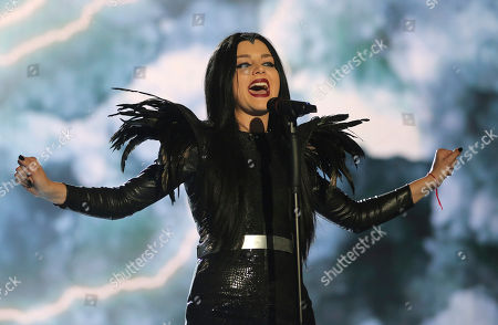 Georgia's Nina Sublatti performs the song 'Warrior' during the Eurovision Song Contest rehearsal for the semifinal in Vienna, Austria