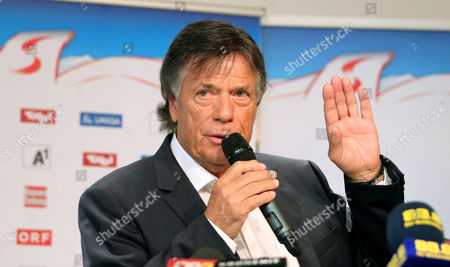 Stock Picture of Peter Schroecksnadel Peter Schroecksnadel, president of the Austrian ski federation, speaks during a press conference in Vienna, Austria, where he announced that ski racer Anna Fenninger remains part of the national team after the overall World Cup champion agreed to live by the federation's sponsorship regulations