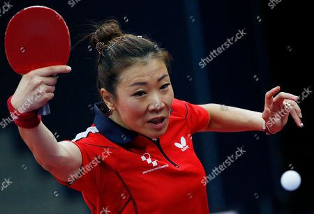 Yuan Tian Yuan Tian of Croatia returns the ball to Margaryta Pesotska of Ukraine during women table tennis single competition at the 2015 European Games in Baku, Azerbaijan