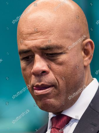Haiti's President Michel Joseph Martelly participates in a round table meeting at the EU-CELAC summit in Brussels on . The Brussels summit will aim to boost trade and diplomatic ties with the region