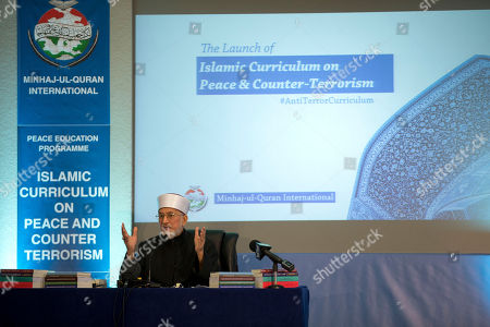 Stock Image of Pakistan cleric Shaykh-ul-islam Dr Muhammad Tahir-ul-Qadri, the founder of the Minhaj-ul-Quran International organization, delivers a keynote speech at the launch of the Islamic Curriculum on Peace and Counter Terrorism in London, . The curriculum is described by the organizers of the event as a syllabus that provides material to form the basis of educational programs and campaigns against religious extremism and radicalization, and for the promotion of peace