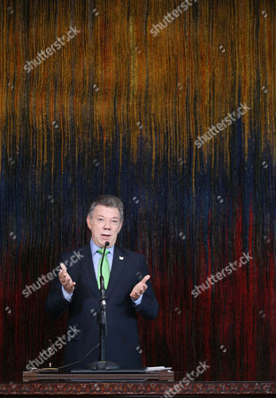 Juan Manuel Santos Colombia's President Juan Manuel Santos speaks during the swearing-in ceremony for his new Defense Minister Luis Carlos Villegas at the presidential palace in Bogota, Colombia, . Villegas replaces Juan Carlos Pinzon who was appointed as the new ambassador of Colombia in Washington