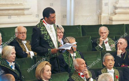 Haitian-born Canadian writer Dany Laferriere delivers his speeech during his induction ceremony at the Academie Francaise, French Academy, in Paris, . Dany Laferriere is a Haitian Canadian novelist and journalist who writes in French