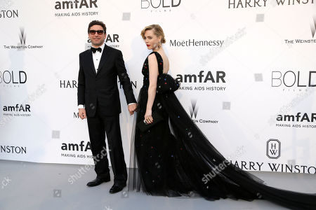 Stock Picture of Actress Melissa George and Jean-David Blanc poses for photographers upon arrival for the amfAR Cinema Against AIDS benefit at the Hotel du Cap-Eden-Roc, during the 68th Cannes international film festival, Cap d'Antibes, southern France