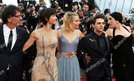 From left, jury president Joel Cohen, jury members Sophie Marceau, Sienna Miller, Xavier Dolan and Rossy de Palma pose for photographers upon arrival for the awards ceremony at the 68th international film festival, Cannes, southern France