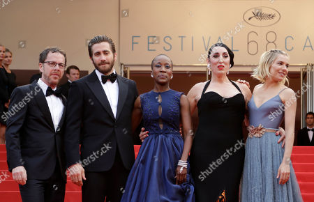 Stock Image of From left, jury president Ethan Coen, jury members Jake Gyllenhaal, Rokia Traore, Rossy de Palma and Sienna Miller pose for photographers upon arrival for the awards ceremony at the 68th international film festival, Cannes, southern France