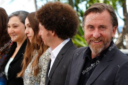 From right, actor Tim Roth, director Michel Franco, Sarah Sutherland and Robin Bartlett pose for photographers during a photo call for the film Chronic, at the 68th international film festival, Cannes, southern France
