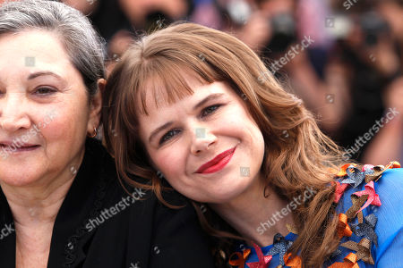 Robin Bartlett and Nailea Norvind pose for photographers during a photo call for the film Chronic, at the 68th international film festival, Cannes, southern France
