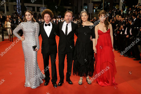 Sarah Sutherland, director Michel Franco, Tim Roth, Robin Bartlett and Nailea Norvind pose for photographers at the screening of the film Chronic at the 68th international film festival, Cannes, southern France