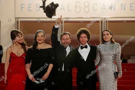 From left, actors Nailea Norvind, Robin Bartlett, Tim Roth, director Michel Franco and actor Sarah Sutherland pose for photographers as they arrive for the screening of the film Chronic at the 68th international film festival, Cannes, southern France