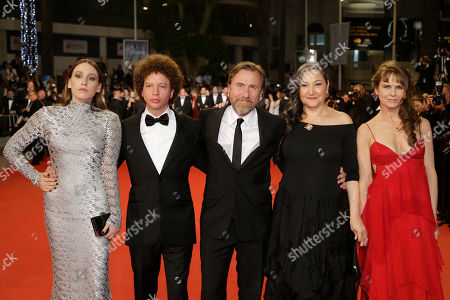 From left, actress Sarah Sutherland, director Michel Franco, actors Tim Roth, Robin Bartlett, and Nailea Norvind pose for photographers as they arrive for the screening of the film Chronic at the 68th international film festival, Cannes, southern France