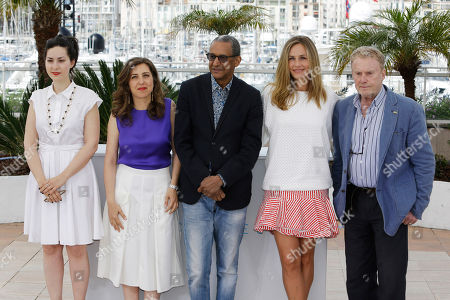 From left, director Rebecca Zlotowski, director Joana Hadjithomas, director Abderrahmane Sissako, actress Cecile De France and actor Daniel Olbrychski pose for photographers during a photo call for the Cinefondation and short film jury, at the 68th international film festival, Cannes, southern France