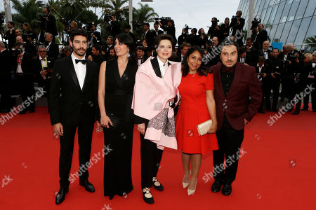 From left, the Un Certain Regard jury, actor Tahar Rahim, actress Nadine Labaki, actress Isabella Rossellini, director Haifa Al-Mansour and director Panos H. Koutras pose for photographers upon arrival for the screening of the film Macbeth at the 68th international film festival, Cannes, southern France