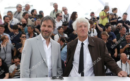 Director Denis Villeneuve and director of photography Roger Deakins pose for photographers during a photo call for the film Sicario, at the 68th international film festival, Cannes, southern France