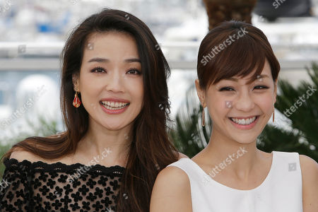 Actors Shu Qi, left, and Hsieh Hsin-Ying pose for photographers during a photo call for the film Nie Yinniang (The Assassin), at the 68th international film festival, Cannes, southern France