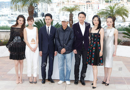 From left, actors Zhou Yun, Hsieh Hsin-Ying, Tsumabuki Satoshi, director Hou Hsiao-Hsien, actors Chang Chen, Zhou Yun, and Sheu Fang-Yiduring a photo call for the film Nie Yinniang (The Assassin), at the 68th international film festival, Cannes, southern France