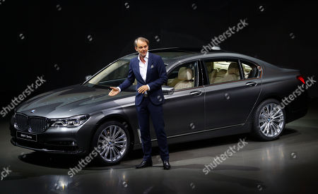 Adrian van Hooydonk, Senior Vice President Design, of german car manufacturer BMW, briefs the media during the world premiere of the new BMW 7 series car in Munich, Germany