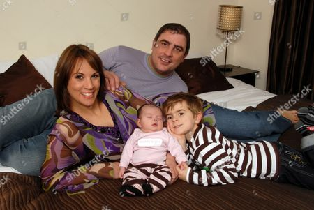 Andrea McLean  with partner Steve Toms and children Finlay and baby Amy