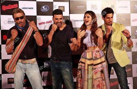 Jackie Shroff, Jacqueline Fernandez, Akshay Kumar, Sidharth Malhotra Bollywood actors from left, Jackie Shroff, Akshay Kumar, Jacqueline Fernandez, and Sidharth Malhotra pose for the media during the trailer launch of their upcoming film 'Brothers' in Mumbai, India, . The film is scheduled for release on August 14, 2015