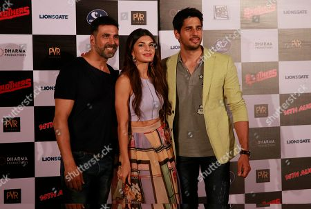 Jacqueline Fernandez, Akshay Kumar, Sidharth Malhotra Bollywood actress, Jacqueline Fernandez poses with co actors Akshay Kumar left, and Sidharth Malhotra, right during the trailer launch of her upcoming film 'Brothers' in Mumbai, India, .The film is scheduled for release on August 14, 2015