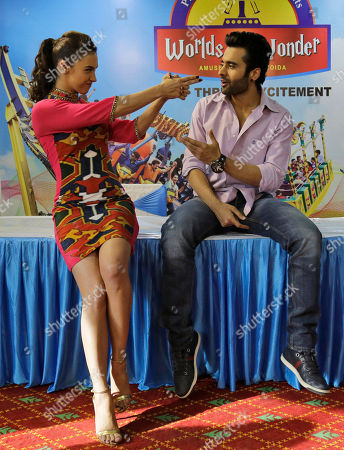 "Bollywood actors Lauren Gottlieb, left, and Jackky Bhagnani attend a promotional event for their upcoming movie ""Welcome to Karachi"" in New Delhi, India, . The film is scheduled to be released on May 29"