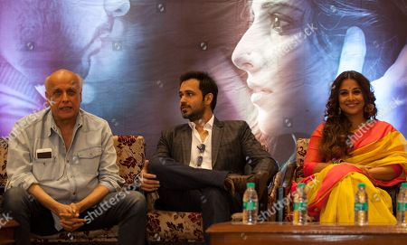 "Vidya Balan, Emran Hashmi, Mahesh Bhatt Bollywood actors Vidya Balan, right, Emran Hashmi, center, and director Mahesh Bhatt attend a promotional event of their forthcoming movie ""Hamari Adhuri Kahani"" in New Delhi, India, . Hamari Adhuri Kahani or Our Incomplete Story, a romantic drama is scheduled to hit the theaters on June 12"
