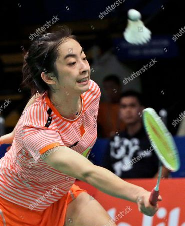 China's Wang Shixian competes against Bae Yeon-ju of South Korea during their women's singles second round match at the Indonesia Open badminton tournament in Jakarta, Indonesia