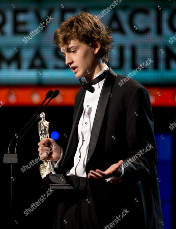 """Stock Picture of Sebastian Aguirre Sebastian Aguirre who starred in """"Obediencia perfecta"""" accepts the award for best new actor during the Ariel Awards in the Palace of Fine Arts in Mexico City, . The Ariel Awards recognize excellence in motion picture making, such as acting, directing and screen writing in Mexican cinema"""