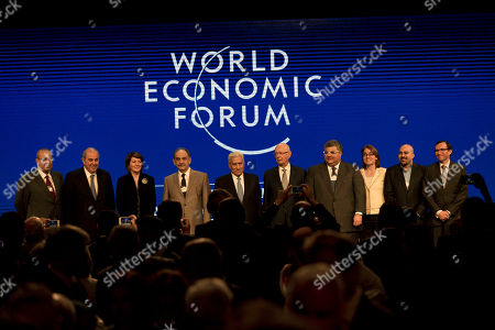 Iyad Allawi, Jahjaga Atifete, Saleh al-Mutlaq, Abdullah Ensour, Klaus Schwab, Jaafar Mohammed Iraq's, Vice President Iyad Allawi, second left, Kosovo's President Jahjaga Atifete, third left, Iraq's Deputy Prime Minister Saleh al-Mutlaq, fourth left, Jordan's Prime Minister Abdullah Ensour center left, Klaus Schwab, WEF's Founder and Executive Chairman, center right, head of the Kuwaiti Danish Dairy Company Jaafar Mohammed, fourth right, and others take a memorial photo following the closing session of the World Economic Forum at the King Hussein convention center, Dead Sea resort of Southern Shuneh, Jordan