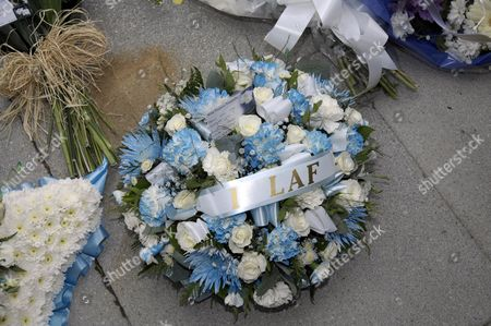 Floral tributes at the funeral of comedian Bernard Manning