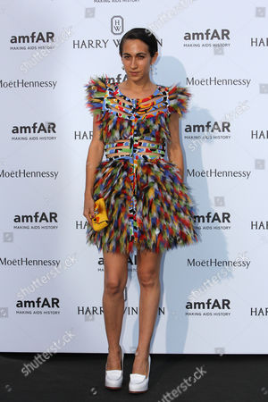 Designer and Jeweller Delfina Delettrez Fendi arrives for the AMFAR dinner, in Paris, France. AmfAR, the Foundation for AIDS Research, is one of the world's leading nonprofit organizations dedicated to the support of AIDS research, HIV prevention