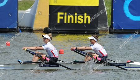 Katherine Copeland,Charlotte Taylor Great Britain's Katherine Copeland, left, and Charlotte Taylor cross the finishing line to win the Lightweight Women's Double Sculls at the European Rowing Championships in Poznan, Poland
