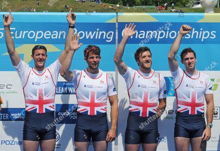 Scott Durant, Tom Ransley, Alan Sinclair, Nathaniel Reilly-O'Donnell Great Britain's Men's Four, Scott Durant, left, Tom Ransley, second left, Alan Sinclair and Nathaniel Reilly-O'Donnell, right, celebrate their gold medal at theEuropean Rowing Championships in Poznan, Poland