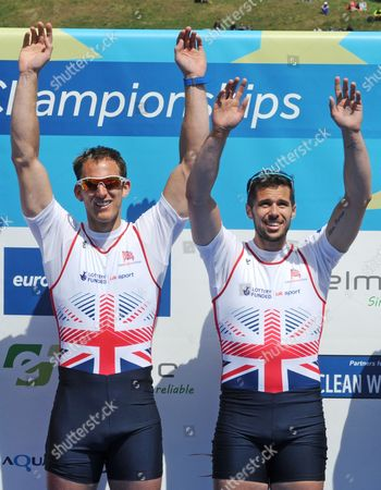 Matt Langridge, James Foad Men's Pair gold medalists Matt Langridge, left, and James Foad from Nritain, celebrate their win during the medal ceremony at the European Rowing Championships in Poznan, Poland