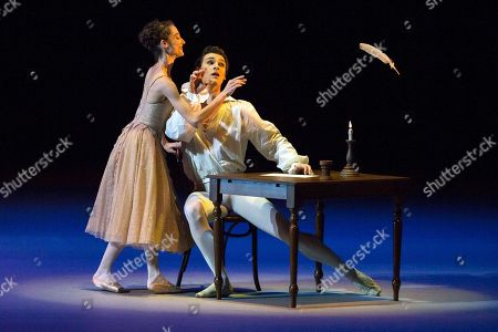 Dorothee Gilbert, Hugo Marchand French soloists of the Opera de Paris Dorothee Gilbert and Hugo Marchand perform a Manon ballet duet choreographed by Kenneth Macmillan during a Gala Concert in the Bolshoi Theater in Moscow, Russia