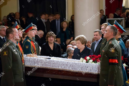 Naina Yeltsin Widow of Russian president Boris Yeltsin, Naina, background right, pays last respect during civil funeral of former Russian Prime Minister Yevgeny Primakov, in Moscow's House of Unions, Russia, . Primakov, whose career included journalism, diplomacy and spycraft, has died at age 85. The Kremlin said Friday, June 26, 2015, that President Vladimir Putin has offered condolences to Primakov's family