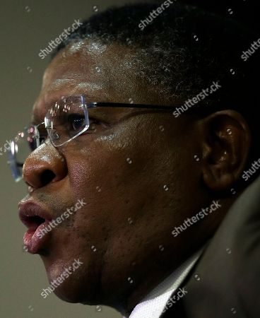 "South Africa's sports minister Fikile Mbalula speaks during a news conference in Johannesburg, South Africa, . Mbalula ""categorically"" denied on Wednesday that the $10 million paid to former FIFA official Jack Warner in 2008 was a bribe for his help in securing the World Cup"