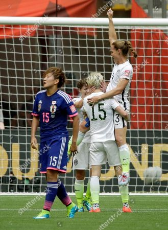 Christie Rampone United States' Christie Rampone, right, and Megan Rapinoe (15) celebrate as Japan's Yuika Sugasawa (15) walks off the pitch after the U.S. beat Japan 5-2 in the FIFA Women's World Cup soccer championship in Vancouver, British Columbia, Canada