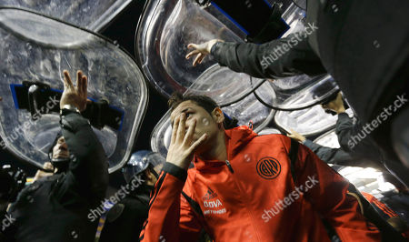 Rodrigo Mora Rodrigo Mora of Argentina's River Plate leaves the field under the protection of police shields after their Copa Libertadores soccer match against Boca Juniors was canceled in Buenos Aires, Argentina, . Conmebol authorities and referee Dario Herrera canceled the game after pepper spray was thrown from the stands towards River Plate players before the start of the second half of the game