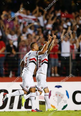 Stock Image of Luis Fabiano, Bruno Luis Fabiano of Brazil's Sao Paulo FC, left, celebrates with teammate Bruno after scoring against Brazil's Corinthians during a Copa Libertadores soccer match in Sao Paulo, Brazil