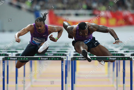 Stock Picture of Aries Merrit, David Oliver Aries Merritt of the U.S, left, competes against fellow American David Oliver, right, in the final of the men's 110-meter hurdles during the IAAF Diamond League Track and Field meet in Shanghai, China