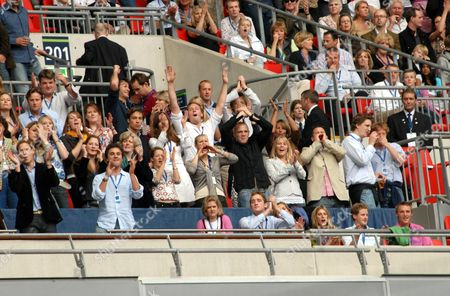 Prince William (far left, front row), Lady Jane Fellowes, Kate Middleton (3rd row, centre), Zara Phillips (2nd row centre), Mike Tindall, Autumn Kelly and Peter Phillips