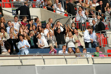 Prince William (far left, front row), Lady Jane Fellowes, Kate Middleton (3rd row, left of centre), Zara Phillips (2nd row centre), Mike Tindall, Autumn Kelly and Peter Phillips